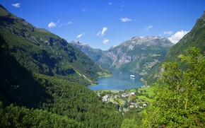 Picture the sky, mountains, Norway, the fjord, Geiranger Fjord