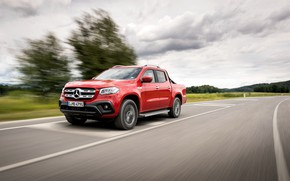 Picture red, Mercedes-Benz, pickup, 2018, on the road, X-Class