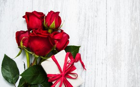 Picture gift, roses, red, red, roses, gift-box, Olena Rudo