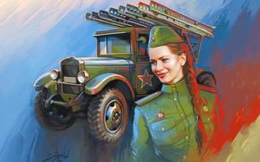 Picture Girl, Figure, Machine, Girl, Soldiers, USSR, Fighter, Art, WWII, The great Patriotic war, War machine, …