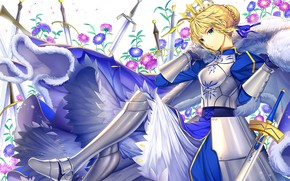 Picture flowers, armor, the saber, Fate stay night, Fate / Stay Night