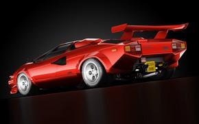 Picture Red, Auto, Minimalism, Lamborghini, Retro, Machine, Art, Supercar, Countach, Rendering, Lamborghini Countach, Transport & Vehicles, …