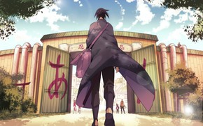 Picture meeting, gate, bag, cloak, friends, Sasuke Uchiha, Sakura Haruno, return home, Naruto Uzumaki, Naruto Shippuden, …