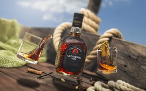 Picture the sky, background, bottle, glasses, alcohol, rum, rope, Индийский ром, Made in India, Old Monk …