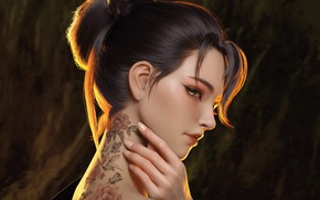 Picture look, girl, Japanese, hand, tattoo, art