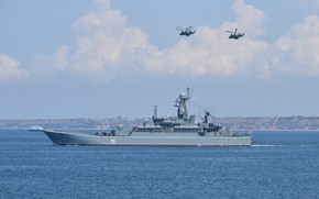 Picture ship, helicopters, Azov, landing, naval aviation
