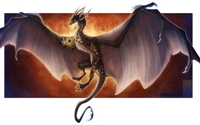 Picture dragon, wings, frame