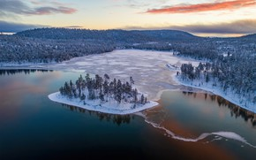 Picture winter, forest, lake, island, ice, panorama, Finland, Lapland