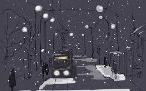 Picture winter, the city, figure