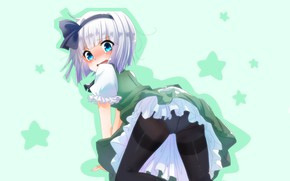 Picture shame, blue eyes, stars, embarrassment, Konpaku Youmu, black tights, standing on all fours, Touhou Project, …