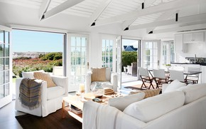 Picture interior, kitchen, white, living room, dining room, Nantucket