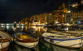 Picture night, lights, coast, home, boats, Italy, piers, Liguria, Portovenere