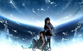 Picture black hair, blue background, the maid, Mio Akiyama, Light music, K-on!, Azusa Nakano, two girls
