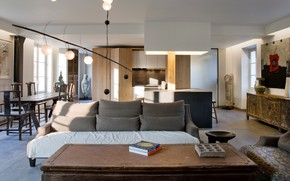 Picture interior, kitchen, living room, dining room, Moliere Residence, by Olivier Chabaud Architecte
