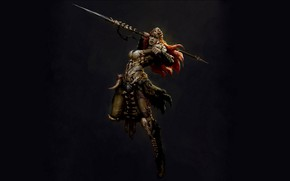 Picture Jump, Spear, Spear, The Dark Background, Russell Dongjun Lu, Russell Duncton Lou, Barbarian huntress, Bone …