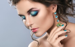 Picture girl, model, makeup, hairstyle, earrings, manicure, Sergejs Rahunoks