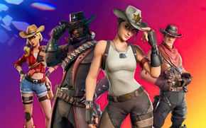 Picture girls, guys, cowboys, hats, Fortnite