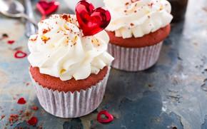 Picture heart, cream, cupcakes, Iryna Melnyk