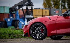 Picture red, coupe, wheel, Toyota, Supra, the front part, the fifth generation, mk5, double, 2019, GR …