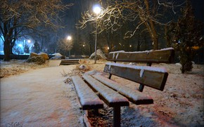 Picture Winter, Night, Snow, Bench, Lights, Park, Winter, Night, Park, Snow
