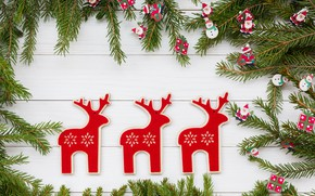 Picture christmas, toys, Christmas, ate, decoration, figures, decoration, branches, deer