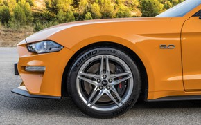 Picture orange, Ford, profile, 2018, the front part, fastback, Mustang GT 5.0