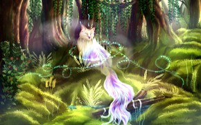 Picture trees, green grass, world of fantasy, mythical animal, призрачный кот