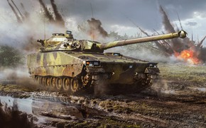 Picture squirt, fire, explosions, dirt, tank, puddles, shots, War Thunder