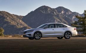 Picture mountains, Volkswagen, sedan, side view, Passat, 2020, 2019, US Version