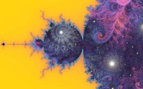 Picture purple, yellow, abstraction, background, lilac, pattern, spiral, fractal, ornament, математическая вселенная