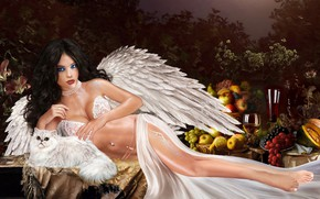 Picture cat, girl, angel, fruit