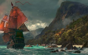 Picture sea, ship, Mountains, scarlet sails.
