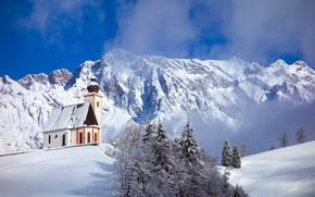 Picture winter, snow, trees, mountains, Austria, Church, Austria, Berchtesgaden Alps, Dienten, Berchtesgaden Alps, SalzburgerLand, The province …