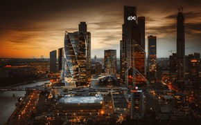 Picture autumn, sunset, the city, river, building, home, the evening, lighting, Moscow, skyscrapers, megapolis, Moscow-City, business …