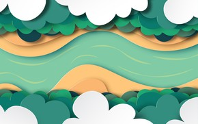 Picture forest, paper, vector, obloka