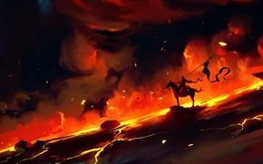 Picture Smoke, Fire, Warrior, Fantasy, Knight, Concept Art, Dominik Mayer, Environments, by Dominik Mayer, 30 min …