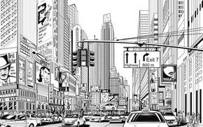 Picture white, black, design, art, New York, lines, buildings