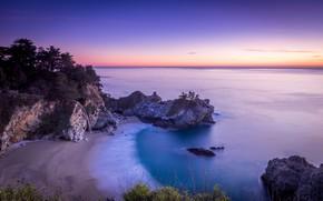 Picture Sunset, Water, Sand, Sea, Beach, Rocks, Trees, Horizon, Shore, The
