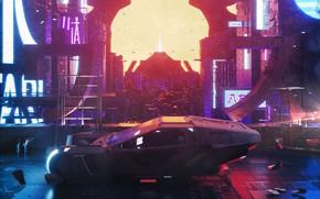 Picture Auto, The city, Neon, Machine, Rain, Movie, Art, Art, The film, Fiction, Blade Runner, Blade …