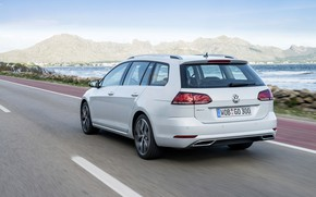 Picture road, Volkswagen, back, universal, 2017, Golf Variant, white-gray