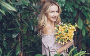 Picture girl, flowers, woman, beauty, bouquet, spring, blonde, girl, woman, yellow, flowers, beautiful, spring, blond