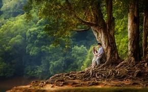 Picture summer, girl, trees, nature, pair, male, lovers, Evgeniya Ovsyannikova