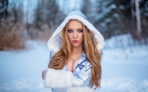 Picture winter, look, girl, face, pose, portrait, hood, long hair, Sergei Kalabushkin, Margo Bushueva