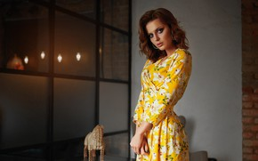 Picture girl, pose, room, makeup, dress, beauty, Sergey Yakubitskiy