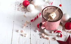 Picture decoration, New Year, Christmas, mug, Christmas, cup, New Year, decoration, Merry, hot chocolate, marshmallow, marshmallows
