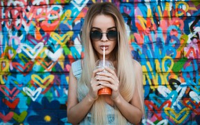 Picture look, girl, pose, background, wall, graffiti, portrait, makeup, glasses, hairstyle, blonde, cocktail, tube, bokeh, dzhinsovka, …