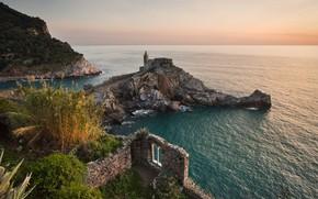Picture road, sea, landscape, nature, stones, rocks, vegetation, morning, Italy, Church, the ruins, Liguria, Portovenere, Portovenere