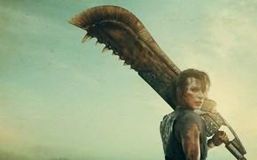 Picture girl, background, sword, Milla Jovovich, Monster Hunter