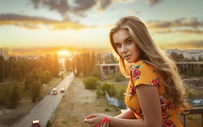 Picture look, sunset, portrait, hands, blonde, long hair, manicure, Barbara, Alexander Astakhov