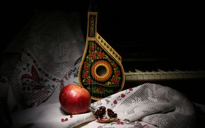Picture style, music, the dark background, towel, strings, still life, piano, piano, items, painting, musical instruments, …